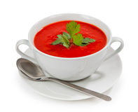 Tasty and healthy tomato soup isolated Stock Photo