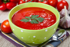 Tasty and healthy tomato soup and vegetables Royalty Free Stock Image