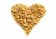 Tasty heart from cornflakes Stock Photos