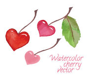 Tasty heart-shaped cherries on branches. Watercolor vector set Royalty Free Stock Photography