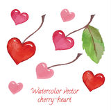 Tasty heart-shaped cherries on branches. Watercolor vector set Royalty Free Stock Photo