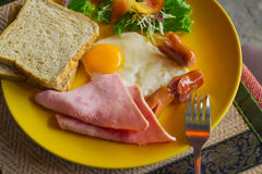 Tasty and high-calorie breakfast Royalty Free Stock Images
