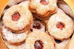 Tasty home-made cookie with marmelade. Self-made cookies with marmelade and sugar Royalty Free Stock Image