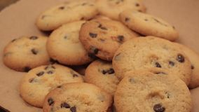 Tasty homemade american chocolate chip cookies, dolly slider in 4k stock video footage