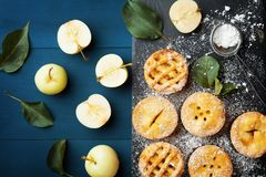 Tasty homemade apple pies on slate board. Pastry dessert top view. Tasty homemade apple pies on slate board. Pastry dessert from above stock photography