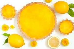Tasty homemade backed lemon tart pie dessert with Stock Photo