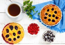 Tasty homemade berry pies in a round ceramic form, a cup of tea on a white wooden background Stock Image