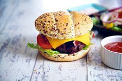 Tasty homemade burger Royalty Free Stock Photo