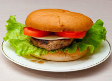 Tasty homemade burger on a plate Royalty Free Stock Photography