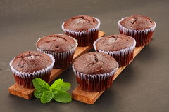 Tasty and homemade Chocolate cream cup cakes Stock Photos