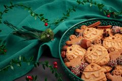 Tasty homemade Christmas cookies in the green plate. stock photography