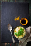 Tasty homemade curry soup with chicken and vegetables Stock Photo