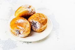 Tasty homemade donuts with jam Royalty Free Stock Image
