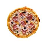 Tasty, homemade, flavorful pizza isolated on white background, t. Op view stock image
