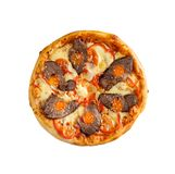 Tasty, homemade, flavorful pizza isolated on white background, t. Op view stock photos