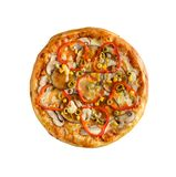 Tasty, homemade, flavorful pizza isolated on white background, t. Op view royalty free stock image