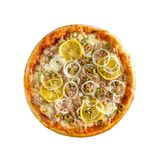 Tasty, homemade, flavorful pizza isolated on white background, t. Op view stock images