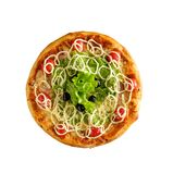 Tasty, homemade, flavorful pizza isolated on white background, t. Op view royalty free stock images