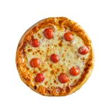 Tasty, homemade, flavorful pizza isolated on white background, t. Op view stock photography