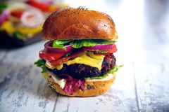 Free Tasty Homemade Gourmet Burger Royalty Free Stock Photos - 68628488