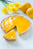 Tasty homemade sweet fruit tart pie with lemon Stock Images