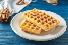Tasty homemade waffles with honey. On white plate Royalty Free Stock Photography