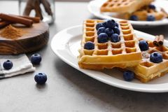 Tasty homemade waffles with sugar powder and blueberries Stock Image