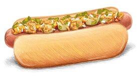 Tasty Hot Dog isolated on White Stock Photo