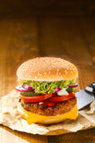 Tasty hot hamburger with onion, meat and salad Stock Photos