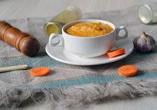 Tasty hot vegetable carrot soup Royalty Free Stock Images