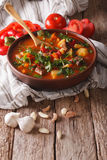 Tasty Hungarian goulash soup bograch close-up and ingredients. v Stock Photo