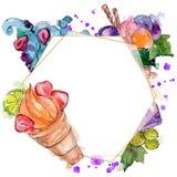 Tasty ice cream cone sweet dessert. Watercolor background illustration set. Frame border ornament square. Tasty ice cream cone sweet dessert. Watercolor stock photos