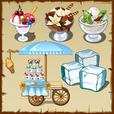 Tasty ice cream decorated and outdoor table on wheels Stock Photos