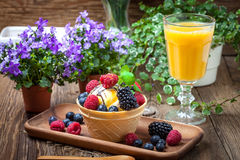 Tasty ice cream dessert with fruit in a waffle bowl. Selective focus Stock Photos