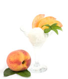 Tasty ice cream dessert with peach Stock Photography