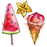 Tasty ice cream in a watercolor style. Aquarelle sweet dessert illustration set. Isolated desserts background element. Tasty ice cream in a watercolor style royalty free stock images