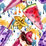 Tasty ice cream in a watercolor style. Aquarelle sweet dessert illustration set. Seamless background pattern. Tasty ice cream in a watercolor style. Aquarelle vector illustration