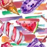 Tasty ice cream in a watercolor style. Aquarelle sweet dessert illustration set. Seamless background pattern. Tasty ice cream in a watercolor style. Aquarelle royalty free illustration