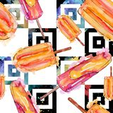 Tasty ice cream in a watercolor style. Aquarelle sweet dessert illustration set. Seamless background pattern. Tasty ice cream in a watercolor style. Aquarelle royalty free stock photo