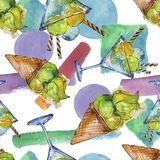 Tasty ice cream in a watercolor style. Aquarelle sweet dessert illustration set. Seamless background pattern. Tasty ice cream in a watercolor style. Aquarelle royalty free stock images