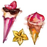 Tasty ice cream in a watercolor style. Aquarelle sweet dessert illustration set. Isolated desserts background element. Tasty ice cream in a watercolor style stock illustration