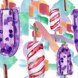 Tasty ice cream in a watercolor style. Aquarelle sweet dessert illustration set. Seamless background pattern. Tasty ice cream in a watercolor style. Aquarelle stock photos