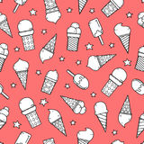 Tasty ice creams seamless pattern. Hand drawing color sketch vector illustration. Stock Photography