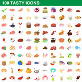 100 tasty icons set, cartoon style. 100 tasty icons set in cartoon style for any design vector illustration Stock Photography