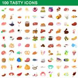 100 tasty icons set, cartoon style. 100 tasty icons set in cartoon style for any design illustration royalty free illustration