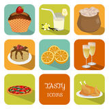 Tasty icons. Set delicious icons depicting various types of food Royalty Free Stock Images