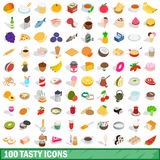 100 tasty icons set, isometric 3d style Stock Photos