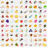 100 tasty icons set, isometric 3d style. 100 tasty icons set in isometric 3d style for any design vector illustration Royalty Free Stock Photos