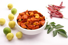 Tasty Indian lime pickle. Famous Indian lime pickle served  with fresh lime and spices Royalty Free Stock Photography