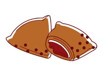 Tasty Indian samosa with filling isolated cartoon illustration Royalty Free Stock Image